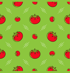 tomato pattern seamless red tomatoes on a green vector image