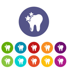 tooth icons set color vector image