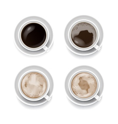 Top view of four style coffee cup isolated on the vector image