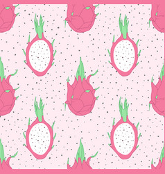 tropical pattern with pink dragon fruit pitahaya vector image