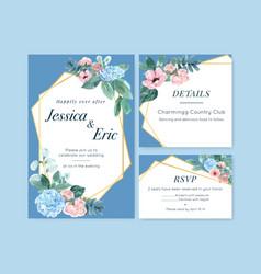 Vintage style floral charming wedding card design vector
