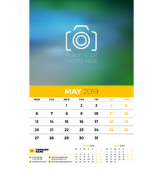 wall calendar planner template for 2019 year 3 vector image