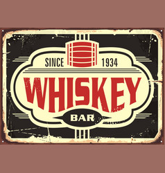 Whiskey bar vintage tin sign vector