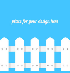White fence on blue background vector