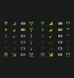 Wi-fi signal icons battery energy charge mobile vector
