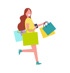 woman with colorful bags vector image