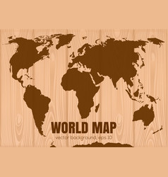 World map on wooden background vector