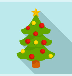xmas tree icon flat style vector image