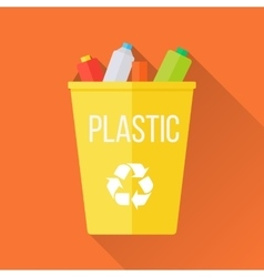 Yellow Recycle Garbage Bin with Plastic vector image