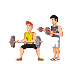 Young athletic men with dumbbells sport vector