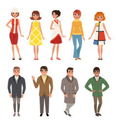 young men and women wearing retro clothing set vector image