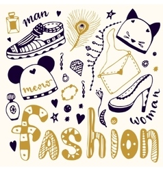 Hand drawn sketch fashion set Shopping doodle vector image vector image