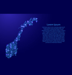 map norway from printed board chip and radio vector image vector image
