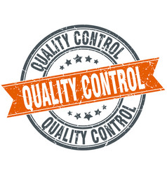 Quality control round grunge ribbon stamp vector
