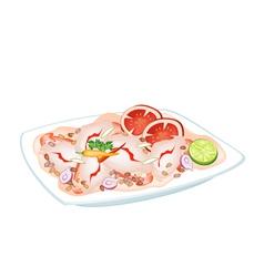 Thai spicy shrimp salad on a plate vector