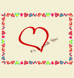 frame of hearts with declaration of love vector image vector image