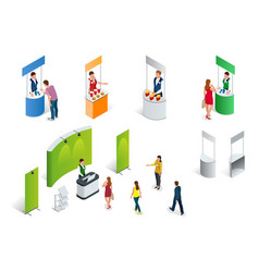 isometric set of promotion stands on a white vector image vector image