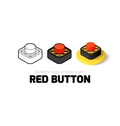 Red button icon in different style vector image vector image