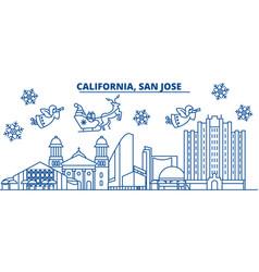 usa texas san jose winter city skyline merry vector image