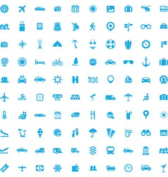 100 travel icons vector image