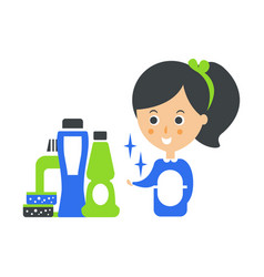cleanup service maid and set of household vector image vector image
