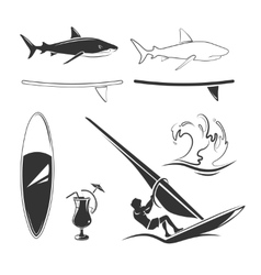 elements for surfing labels logos and vector image vector image