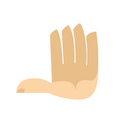 five fingers hand isolated palm on white vector image