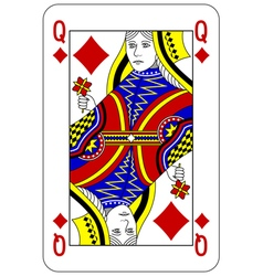 Poker playing card Queen diamond vector image vector image