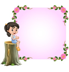 Asian girl and pink border with flowers design vector