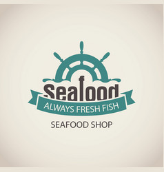 banner for seafood with ship helm wave and words vector image vector image
