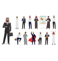 cartoon arab muslim businessman male vector image vector image