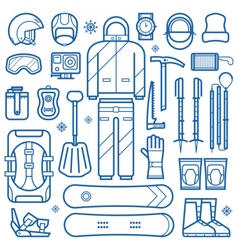 Snowboard Equipment Line Icons vector image vector image