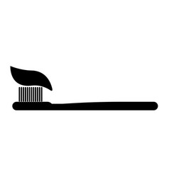 tooth paste and brush the black color icon vector image