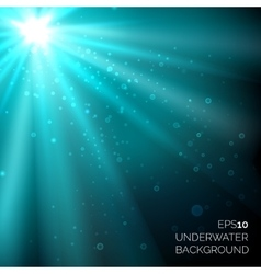 Under water blue deep ocean background with vector image
