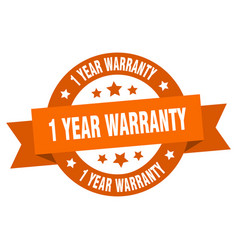 1 year warranty ribbon 1 year warranty round vector image