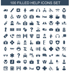100 help icons vector