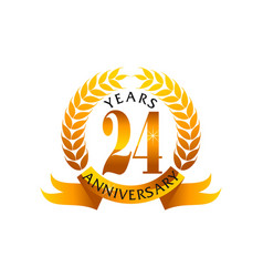 24 years ribbon anniversary vector
