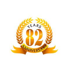 82 years ribbon anniversary vector