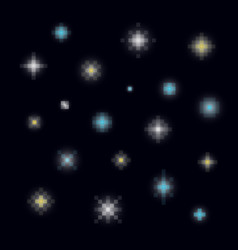 A set of various pixel art stars vector