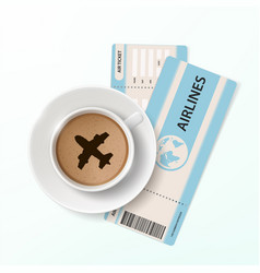 Air ticket and a cup of coffee with the plane vector
