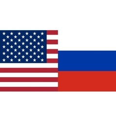 American and Russian flags together vector image