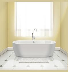 Bathtub in interior vector