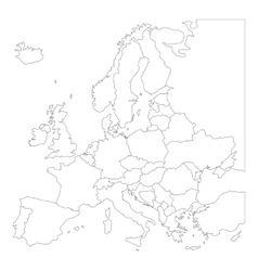 Blank outline map of Europe vector image