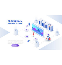 blockchain and cryptocurrency design concept with vector image