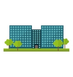 Blue city office building with trees vector image