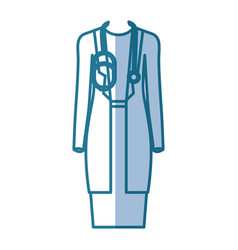 Blue silhouette shading of female doctor clothing vector
