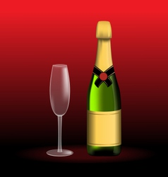 Bottle of sparkling wine and empty glass vector