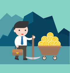 businessman hold a pickaxe with bitcoin in money vector image