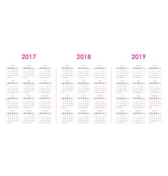 Calendar template for 2017 2018 2019 vector
