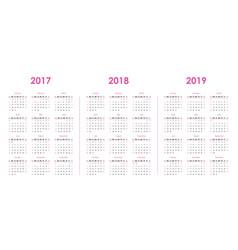 calendar template for 2017 2018 2019 vector image